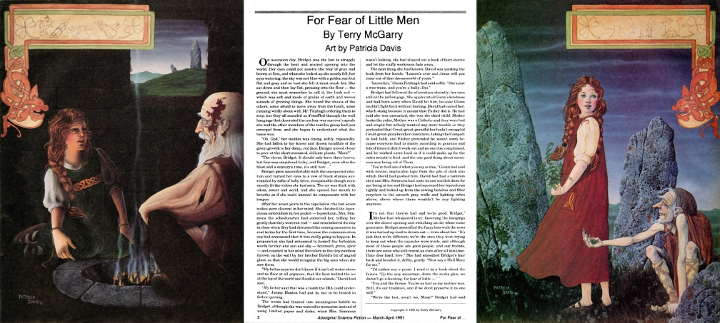 Magazine text and art spread for the story 'For Fear of Little Men'