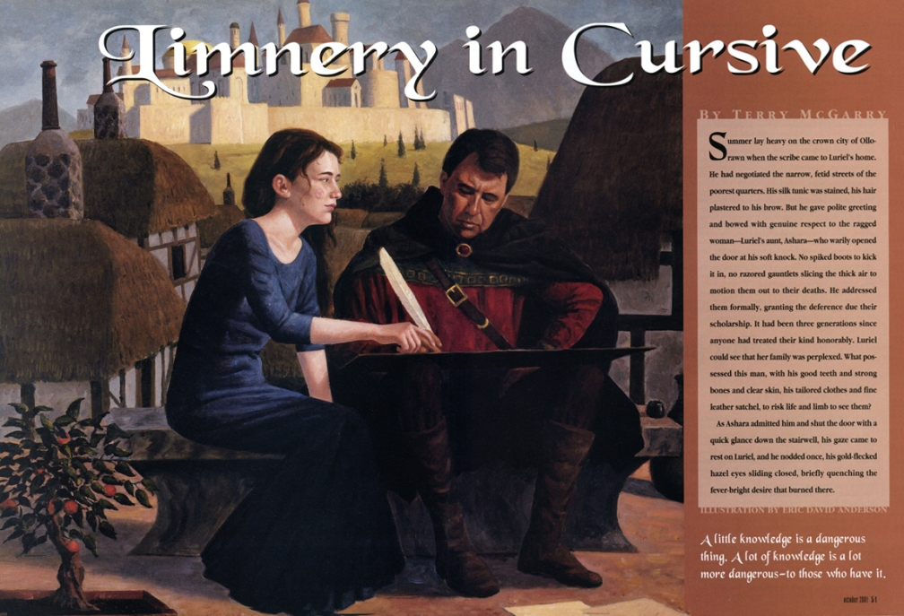 Magazine text and art spread for the story 'Limnery in Cursive'